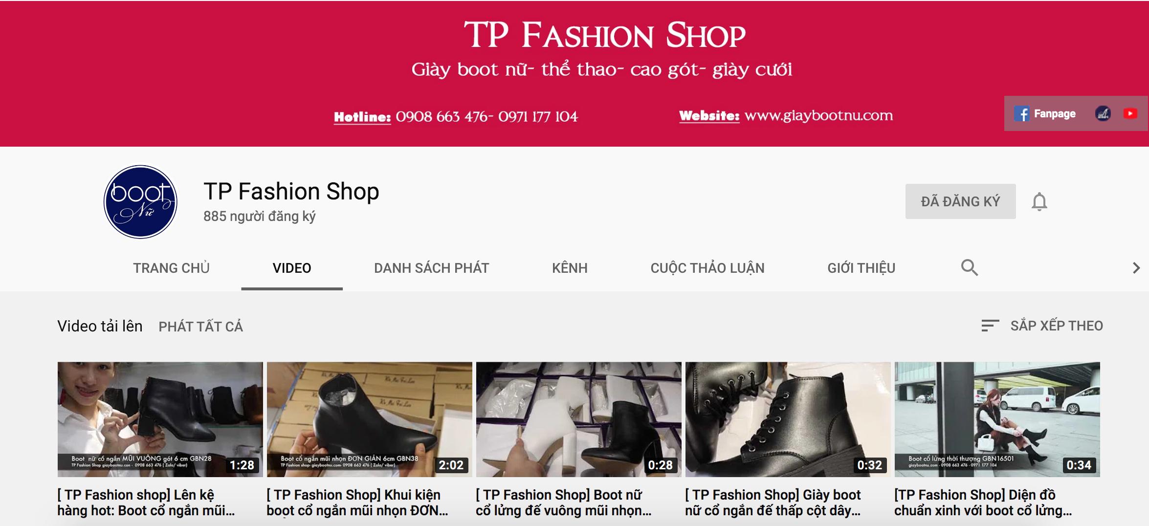Kênh youtube của shop giày boot nữ TP Fashion Shop