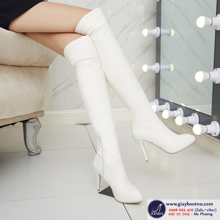Boot ống dài qua gối đơn giản hiện đại phiên bản màu trắng GCC10601