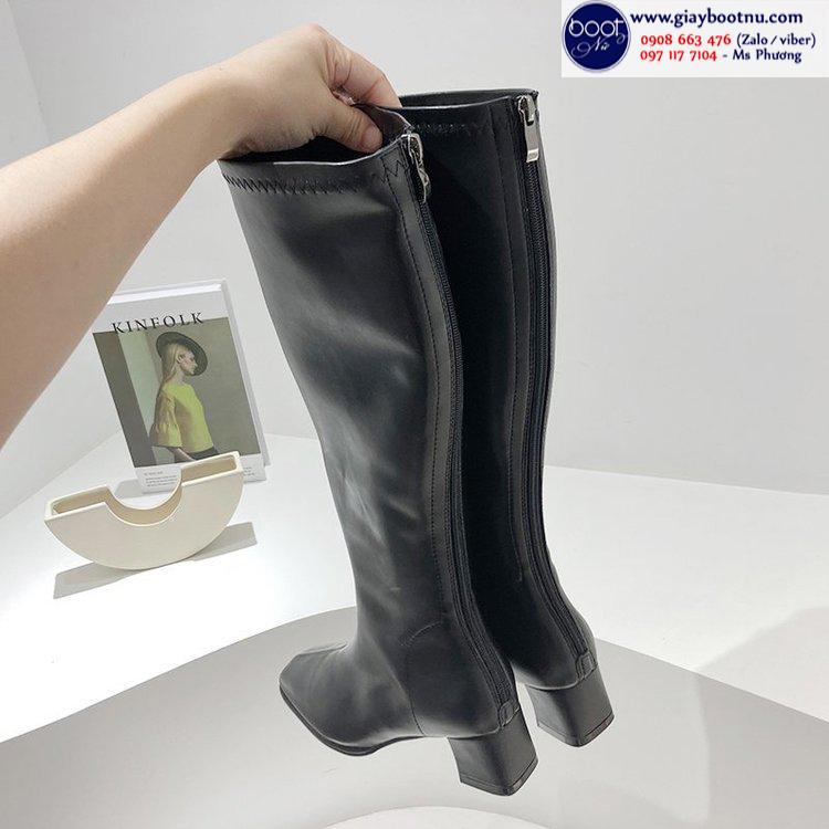 Boot dưới gối da mềm ôm chân mũi vuông sành điệu GCC10701