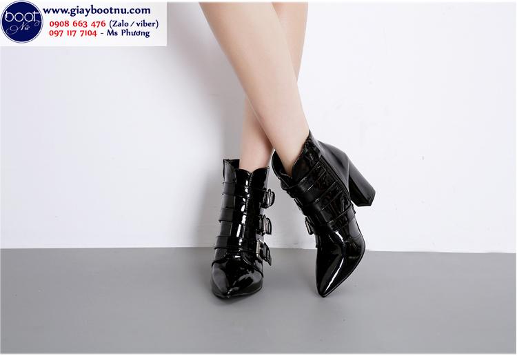Boot nữ cổ ngắn da bóng đế vuông sành điệu GBN1501