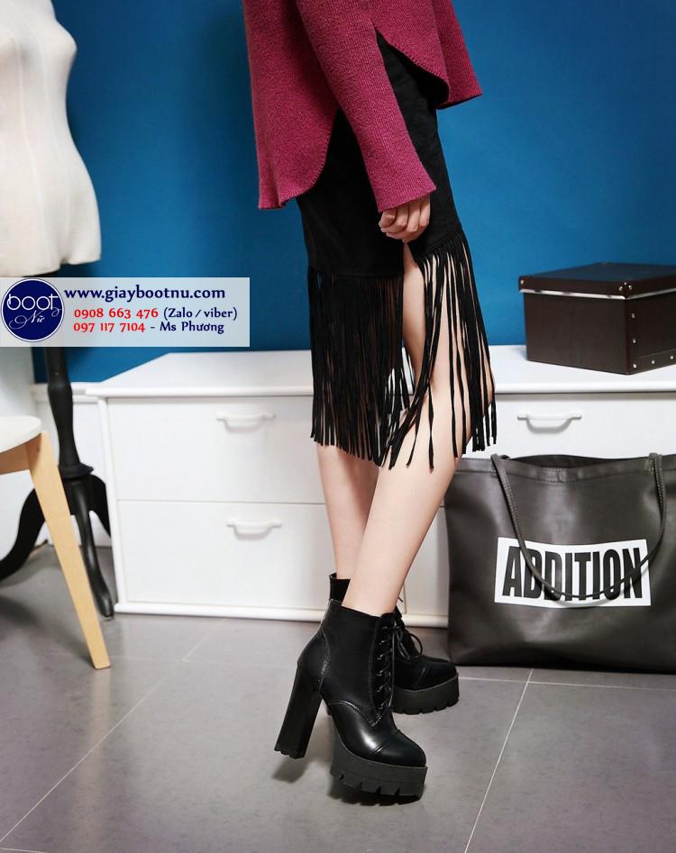 Boot nữ buộc dây màu đen hiện đại cao 12cm GBN1701