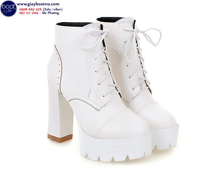 Boot nữ buộc dây màu trắng hiện đại cao 12cm GBN1702
