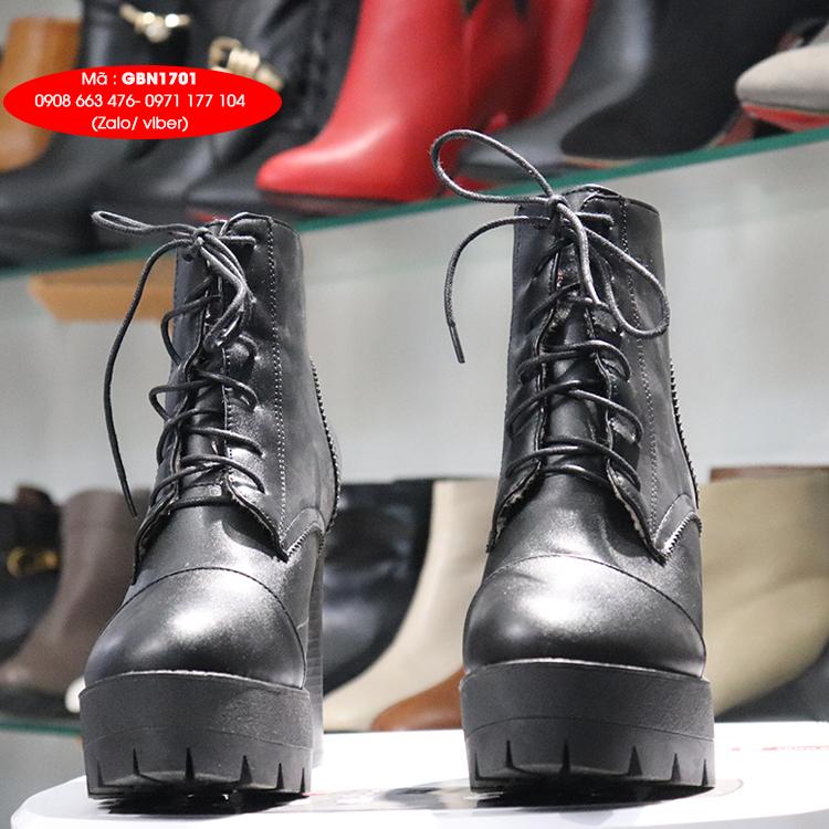 Giày boot nữ cổ ngắn cột dây cao 12cm màu đen THỜI THƯỢNG GBN1701