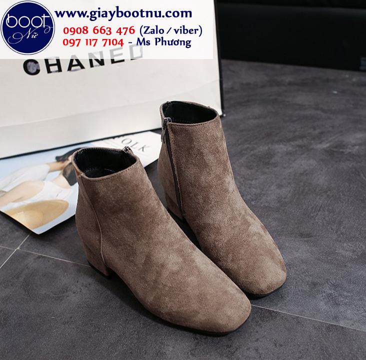 Giày boot nữ đế thấp  màu xám da lộn mềm GBN17602