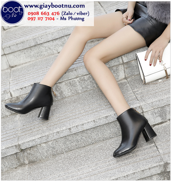 Boot nữ cổ ngắn mũi vuông màu đen thời thượng GBN2401