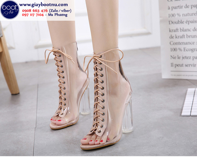 Giày boot nữ trong suốt cột dây THỜI THƯỢNG màu hường GBN3902
