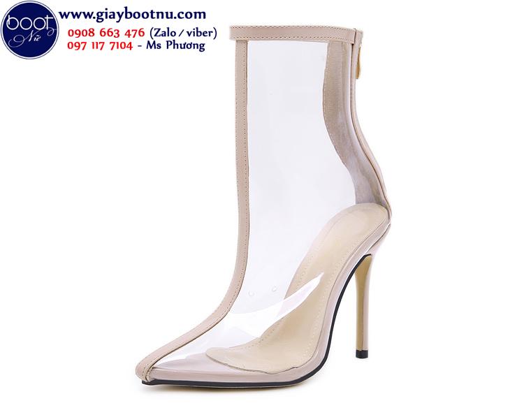 Boot nữ trong suốt gót nhọn cổ lửng THỜI THƯỢNG GBN40