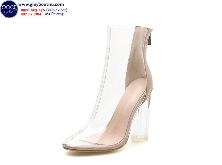 Giày boot nữ trong suốt bít mũi gót vuông THỜI THƯỢNG GBN41