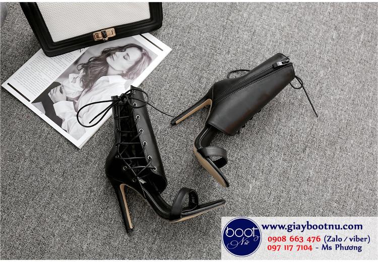 Sandal dây nữ sexy màu đen cổ lửng GBN4201