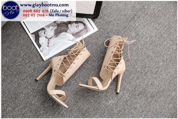 Sandal dây nữ màu hường cổ lửng  NGỌT NGÀO GBN4202