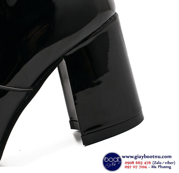 Boot cổ lửng da bóng dây kéo trước THỜI THƯỢNG GBN43