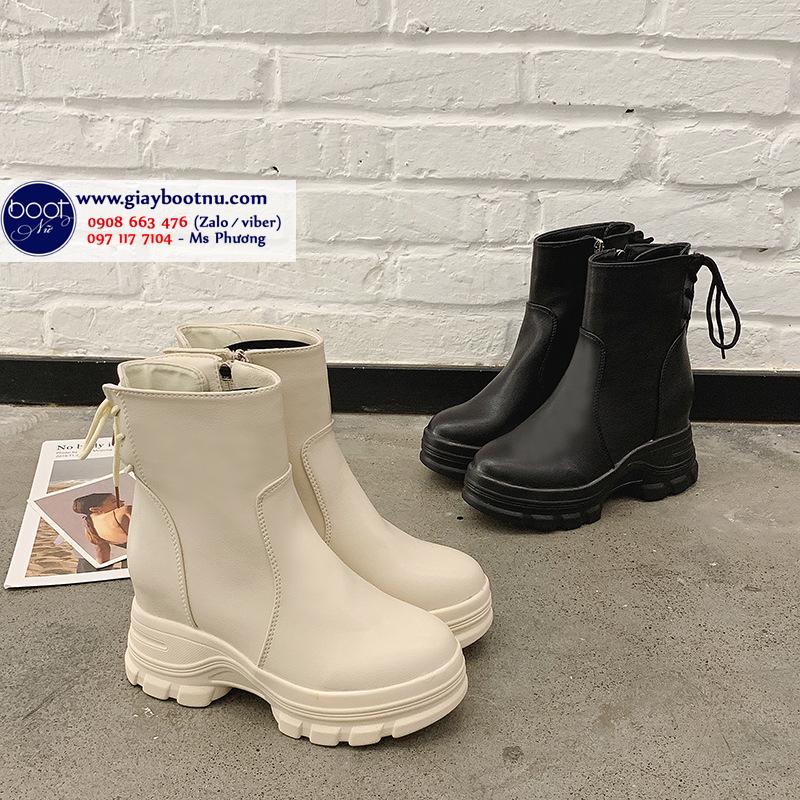 Boot nữ nâng đế 8cm màu kem SIÊU XINH GBN4602