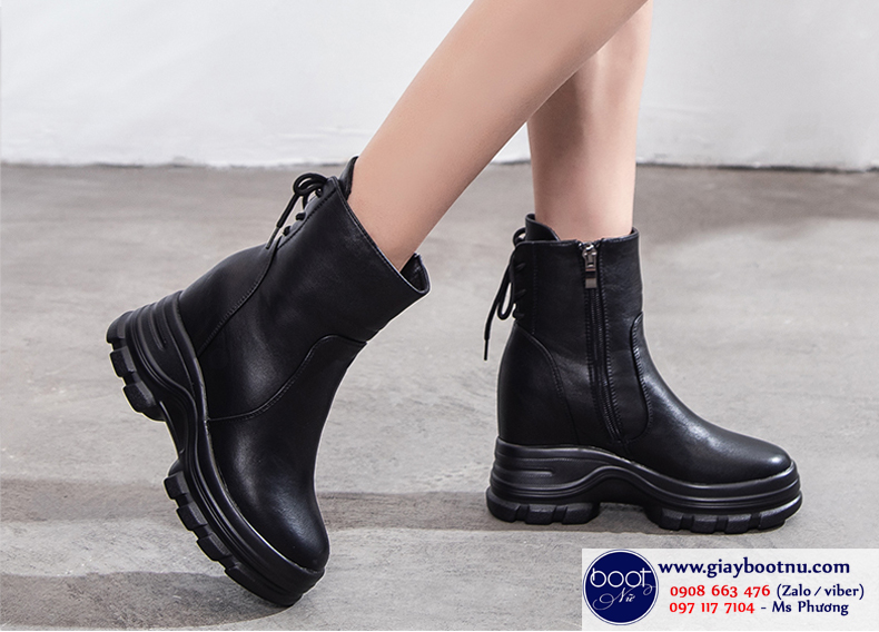 Boot nữ nâng đế 8cm màu đen HIỆN ĐẠI GBN4601