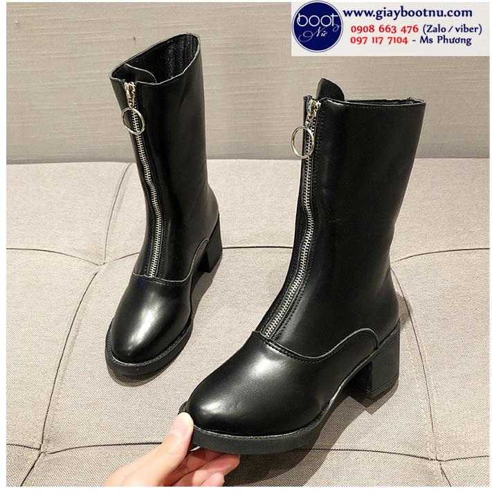 Boot lửng dây kéo giữa màu đen HIỆN ĐẠI GBN5001