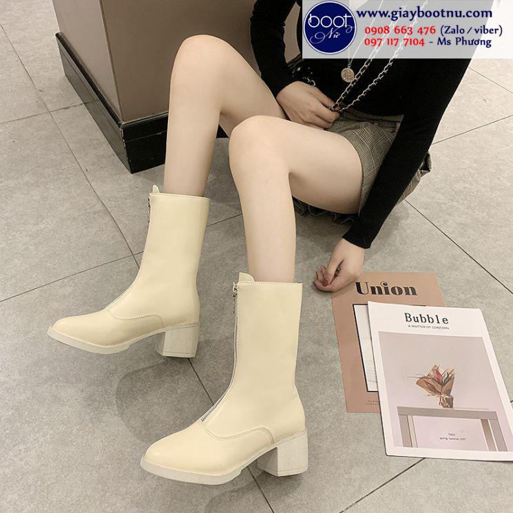 Boot lửng dây kéo giữa màu vàng mơ XINH XẮN GBN5002