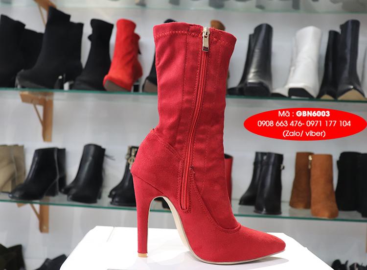 Boot lửng da lộn cao 11cm màu đỏ ĐƠN GIẢN GBN6003