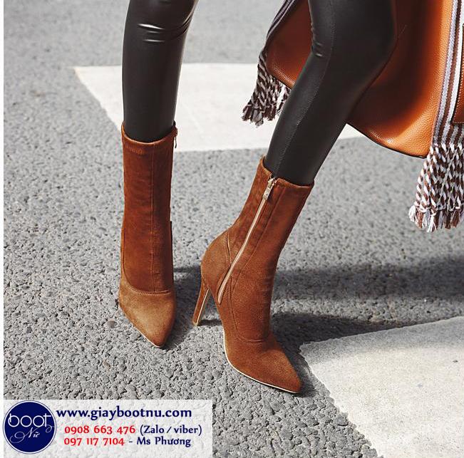 Boot lửng da lộn cao 11cm màu bò ĐƠN GIẢN GBN6002
