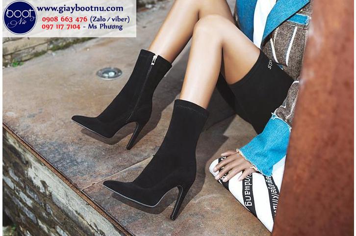 Boot lửng da lộn cao 11cm màu đen ĐƠN GIẢN GBN6001