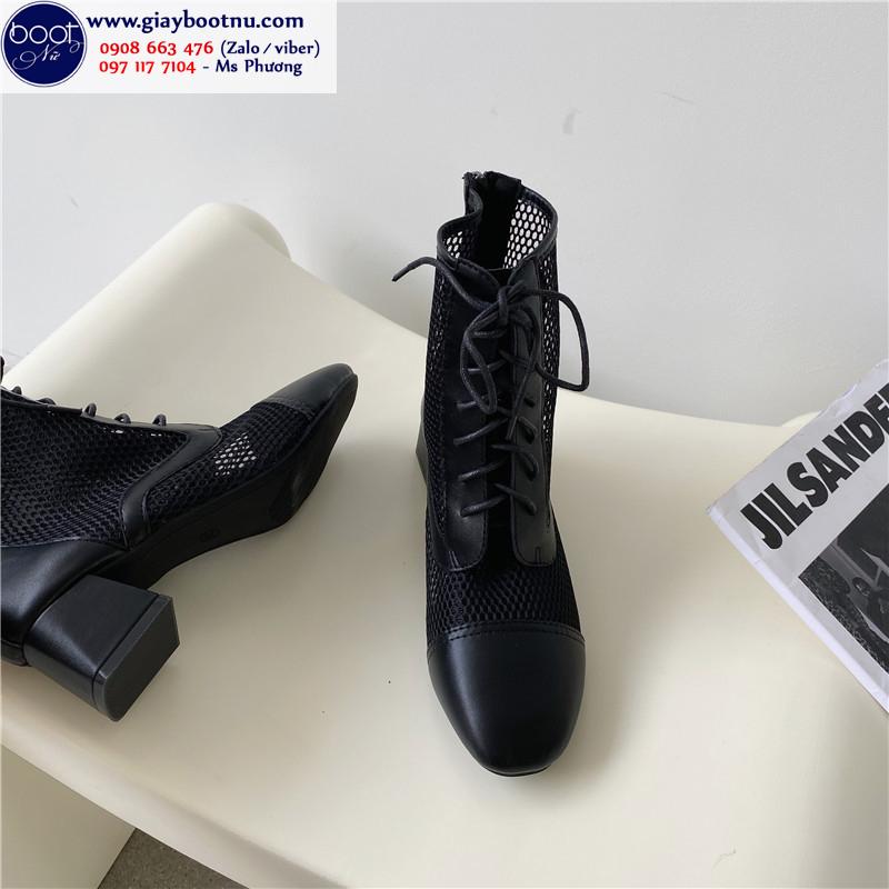 Boot lưới cổ ngắn gót vuông 5cm cột dây màu đen HIỆN ĐẠI GBN6201