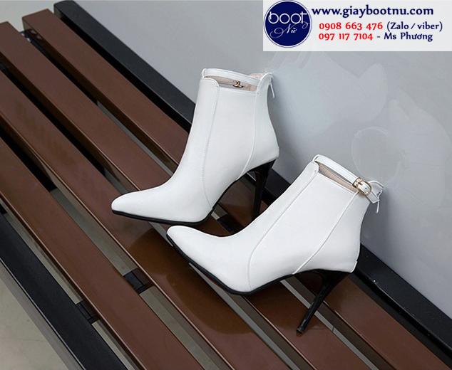 Boot nữ cổ ngắn gót nhọn màu trắng HIỆN ĐẠI GBN6402