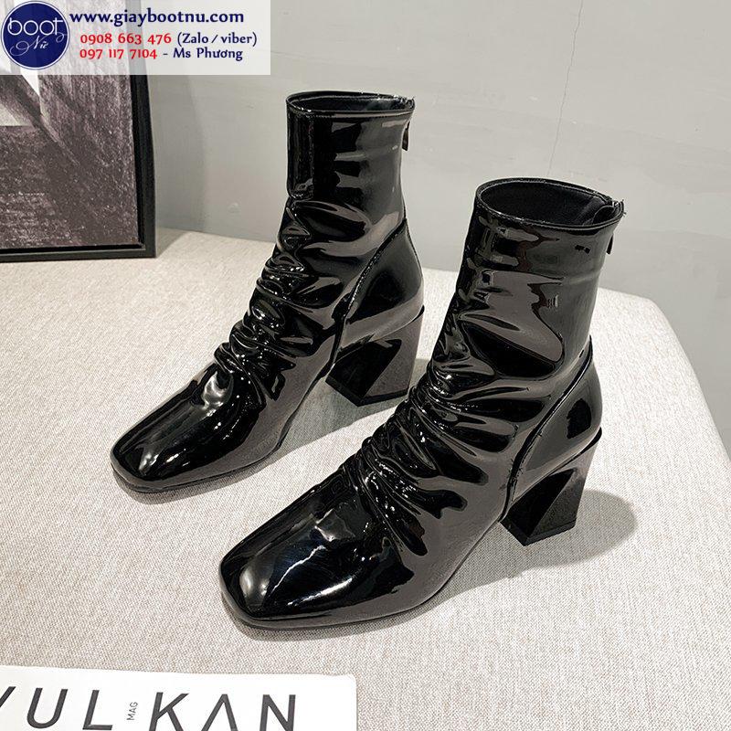 Boot dúng da bóng màu  đen THỜI THƯỢNG GBN6501