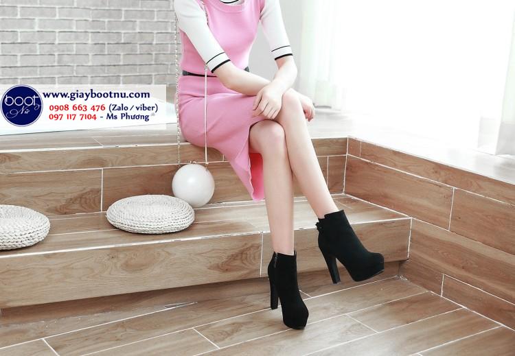 Boot nữ cao gót 12cm da lộn SÀNH ĐIỆU GBN6701