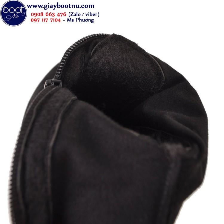 Giày boot nữ ống cao ngang đùi da lộn đơn giản GCC04