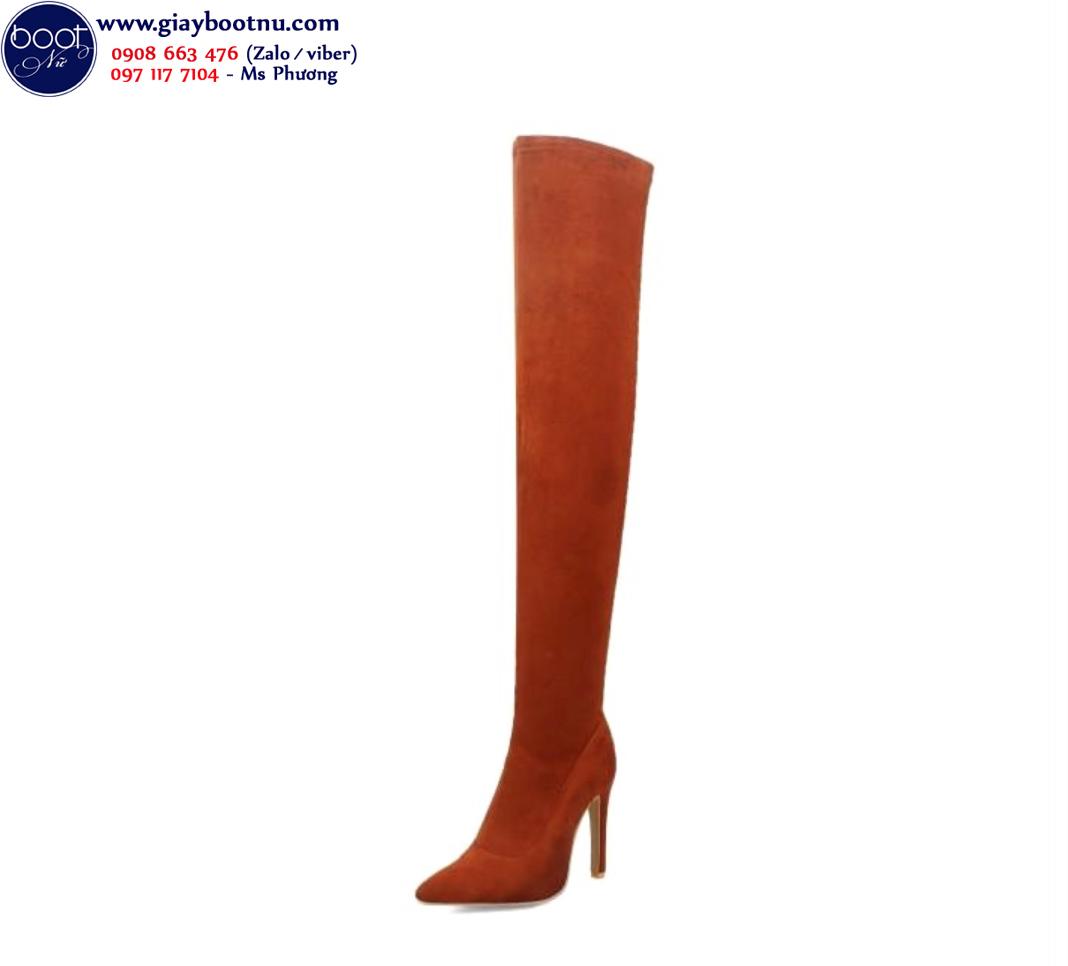 Giày boot nữ da lộn qua gối màu da bò THỜI THƯỢNG GCC0402