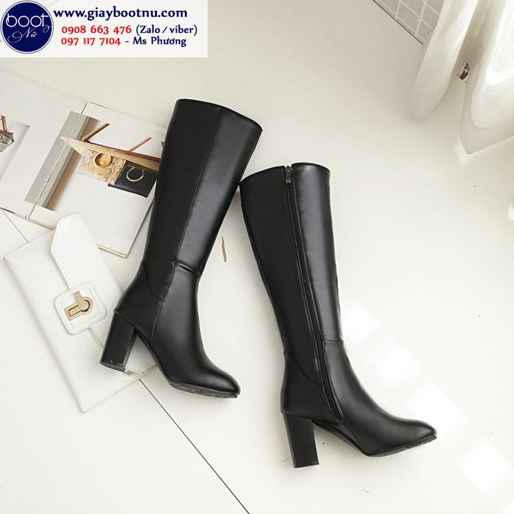 Boot ống cao dưới gối da PU bóng ĐƠN GIẢN hiện đại GCC10901