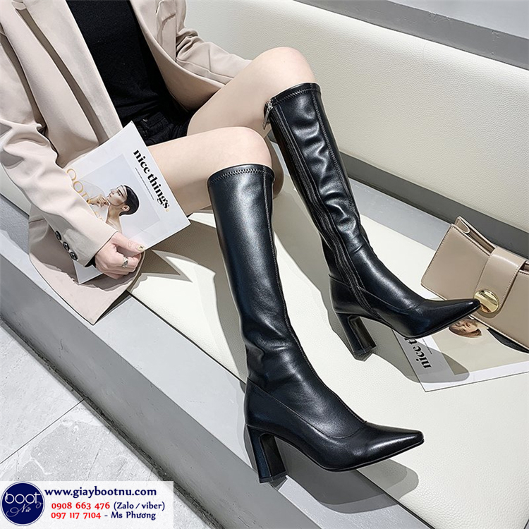 Boot dưới gối gót vuông ÔM CHÂN sành điệu GCC11001