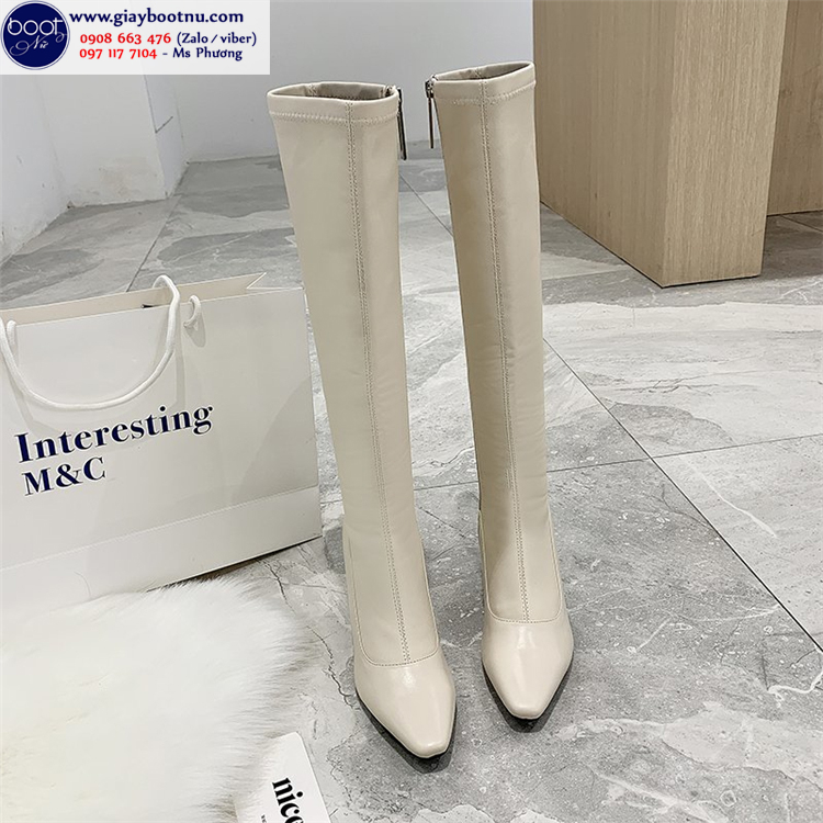 Boot dưới gối màu kem ÔM CHÂN sành điệu GCC11002