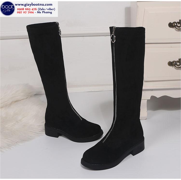 Giày boot ống cao dưới gối lót lông êm chân và có dây kéo giữa GCC23