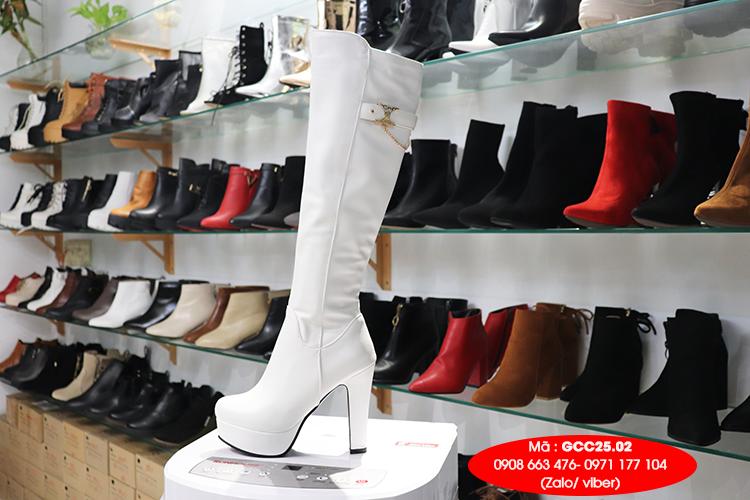 Boot ngang gối cao 12cm màu trắng SÀNH ĐIỆU GCC2502