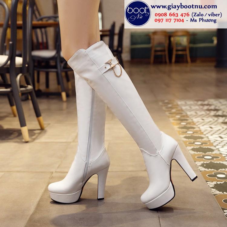 Boot ống cao ngang gối gót 12cm màu trắng SÀNH ĐIỆU GCC2502