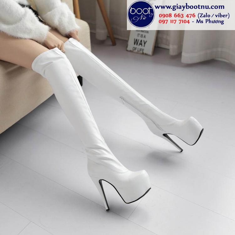 Boot đùi cao 15cm màu trắng gót nhọn THỜI THƯỢNG GCC2602