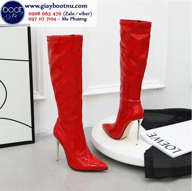 Boot ống cao dưới gối da bóng màu đỏ SANG CHẢNH GCC2703