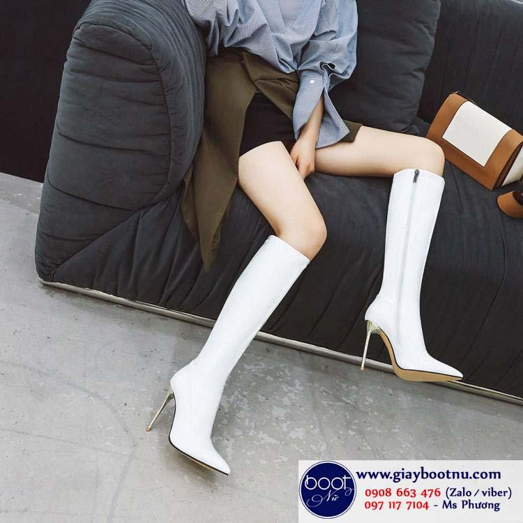 Boot ống cao dưới gối da bóng màu trắng SANG CHẢNH GCC2702