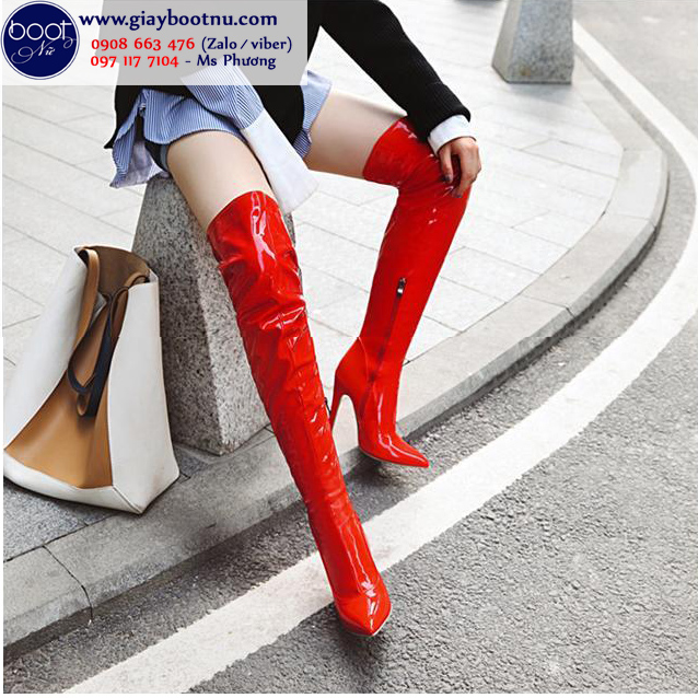 Boot đùi da bóng màu đỏ gót nhọn thanh dáng GCC2903
