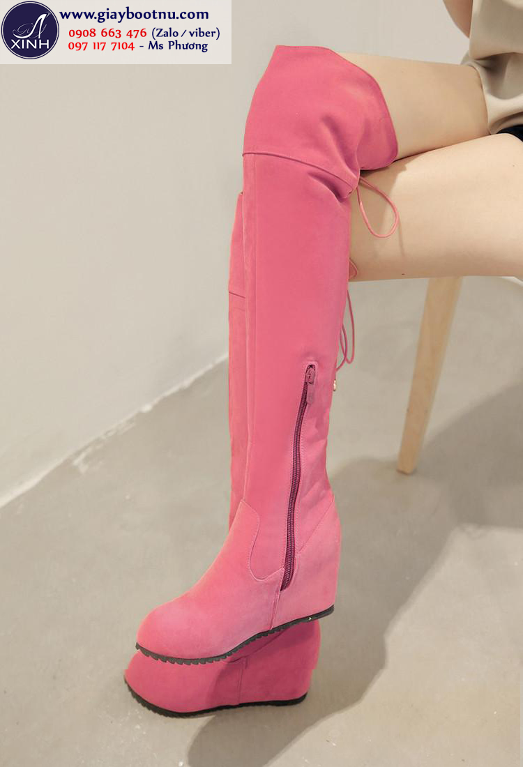 Boot nữ ống cao độn đế xinh xắn màu hồng GCC4903