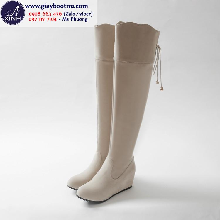 Boot nữ ống cao độn đế xinh xắn màu kem GCC4902