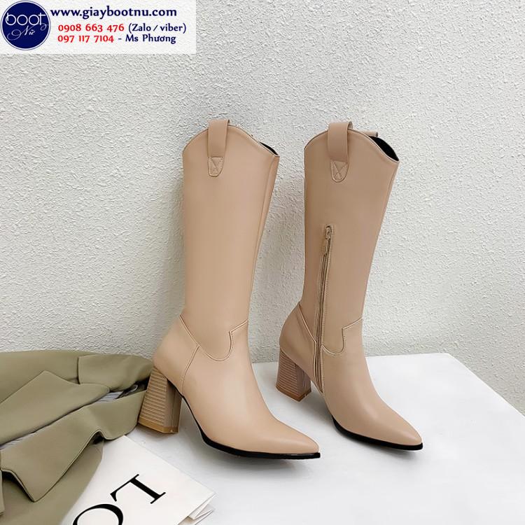 Boot cao bồi dưới gối màu da cổ xẻ GCC6303